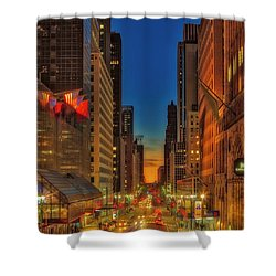 Shower Curtain featuring the photograph Dawn At 42nd Street Nyc by Susan Candelario