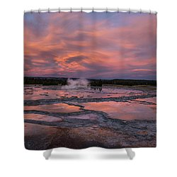 Shower Curtain featuring the photograph Dawn At Great Fountain Geyser by Roman Kurywczak