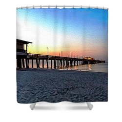 Dawn At Gulf Shores Pier Al Seascape 1283a Digital Painting Shower Curtain