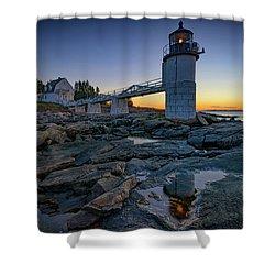 Dawn At Marshall Point Shower Curtain by Rick Berk