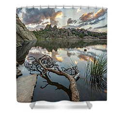 Shower Curtain featuring the photograph Dawn At Sylvan Lake by Adam Romanowicz