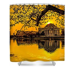 Shower Curtain featuring the photograph Dawn At The Jefferson Memorial  by Nick Zelinsky