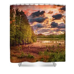 Dawn At The Lake Shower Curtain