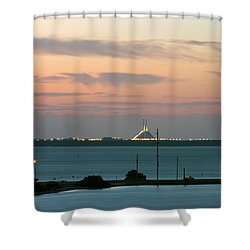 Dawn At The Sunshine Skyway Bridge Viewed From Tierra Verde Florida Shower Curtain by Mal Bray