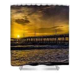 Dawn At The Virginia Pier Shower Curtain by Nick Zelinsky