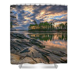 Dawn At Wolfe's Neck Woods Shower Curtain by Rick Berk