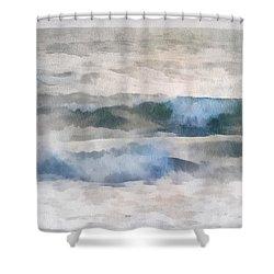 Shower Curtain featuring the digital art Dawn Beach by Francesa Miller