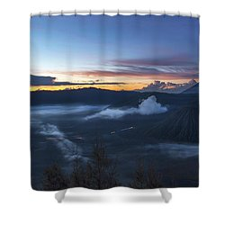 Dawn Breaking Scene Of Mt Bromo Shower Curtain