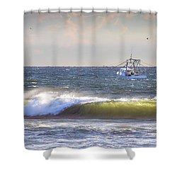 Shower Curtain featuring the photograph Dawn Fishermen by Phil Mancuso