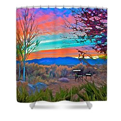 Dawn In El Prado  Shower Curtain