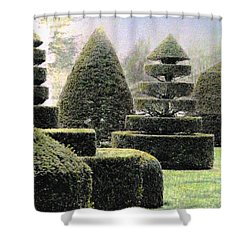 Dawn In A Topiary Garden   Shower Curtain by Angela Davies