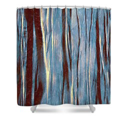 Dawn In The Winter Forest - Landscape Mood Lighting Shower Curtain by Menega Sabidussi