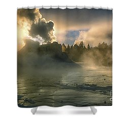 Dawn On Castle Geyser Shower Curtain by Sandra Bronstein
