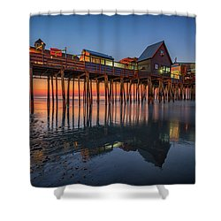 Shower Curtain featuring the photograph Dawn On Old Orchard Beach by Rick Berk