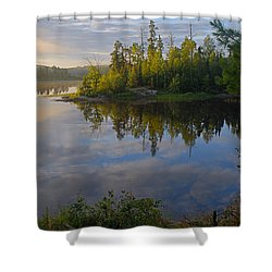 Dawn On The Basswood River Shower Curtain