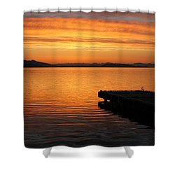 Dawn On The Water At Dusavik Shower Curtain