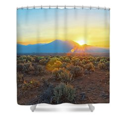 Dawn Over Magic Taos Mountain Shower Curtain