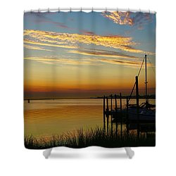 Dawn Over The Bay Shower Curtain