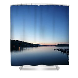 Dawn Over The Lake Shower Curtain by Dennis Hedberg