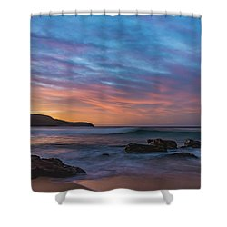 Dawn Seascape With Rocks And Clouds Shower Curtain