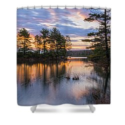 Dawn Serenity At Lake Tiorati Shower Curtain by Angelo Marcialis