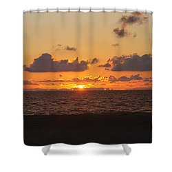 Shower Curtain featuring the photograph Dawn's Cloud Layers by Robert Banach