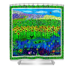Day And Night In A Sunflower Field With Floral Border Shower Curtain