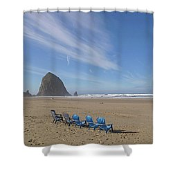 Day At Haystack Rock Shower Curtain