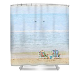 Shower Curtain featuring the digital art Day At The Beach Sun And Sand by Randy Steele