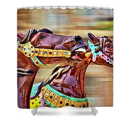 Day At The Races Shower Curtain by Evelina Kremsdorf