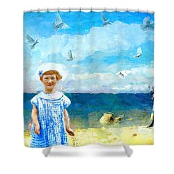 Shower Curtain featuring the digital art Day At The Shore by Alexis Rotella