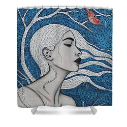 Shower Curtain featuring the mixed media Day Dreamer by Natalie Briney