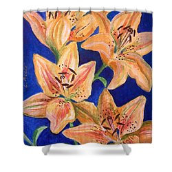 Shower Curtain featuring the painting Day Lilies by Laura Aceto