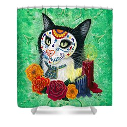 Shower Curtain featuring the painting Day Of The Dead Cat Candles - Sugar Skull Cat by Carrie Hawks