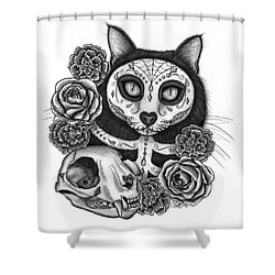 Shower Curtain featuring the drawing Day Of The Dead Cat Skull - Sugar Skull Cat by Carrie Hawks
