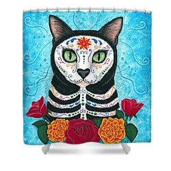 Day Of The Dead Cat - Sugar Skull Cat Shower Curtain by Carrie Hawks