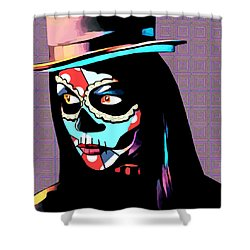 Day Of The Dead Skull Woman Wearing Top Hat Shower Curtain