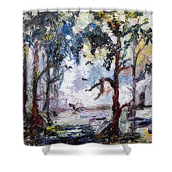 Daybreak In The Okefenokee Shower Curtain by Ginette Callaway