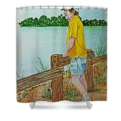 Pondering Shower Curtain