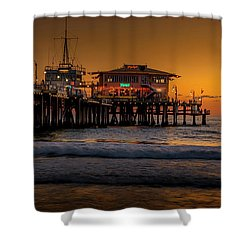 Daylight Turns Golden On The Pier Shower Curtain
