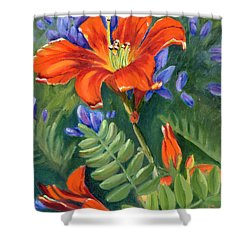 Shower Curtain featuring the painting Daylilies by Renate Nadi Wesley