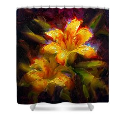 Shower Curtain featuring the painting Daylily Sunshine - Colorful Tiger Lily/orange Day-lily Floral Still Life  by Karen Whitworth