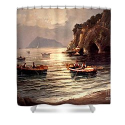 Day's End And Work Begins In The Gulf Of Naples Shower Curtain
