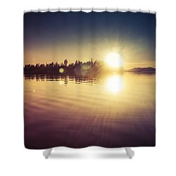 Day's End In Waterworld Shower Curtain by Michele Cornelius