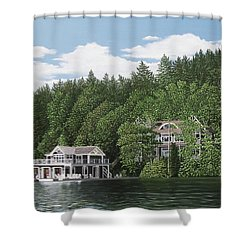 Shower Curtain featuring the painting De Groote Summer Home Muskoka by Kenneth M Kirsch