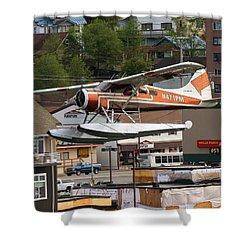 De Havilland Beaver Is Airborne Shower Curtain by Allan Levin