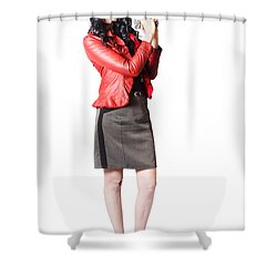 Shower Curtain featuring the photograph Dead Female Secret Agent Holding Hand Gun by Jorgo Photography - Wall Art Gallery
