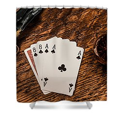 Dead Mans Hand A Gun And A Shot Of Whiskey Shower Curtain