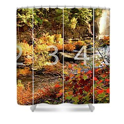 Dead River Falls Marquette Michigan Panoramic Map Shower Curtain