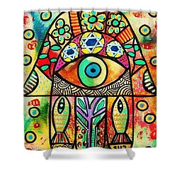 Dead Sea Fish Hamsa Shower Curtain by Sandra Silberzweig